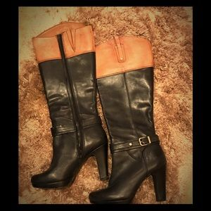 Gianni Bini high heeled color block boots
